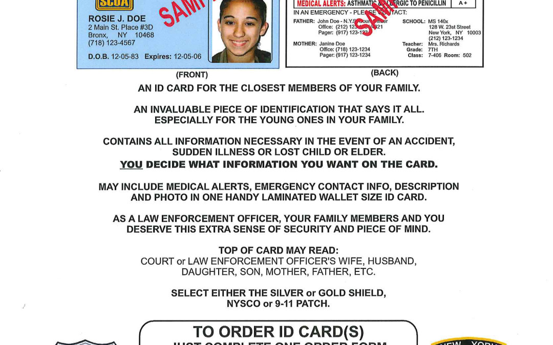 Family Member's Identification & Medical Alert Cards