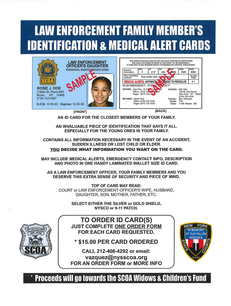Supreme Officers Family Identification Association Cards Medical amp; Court Alert Member's