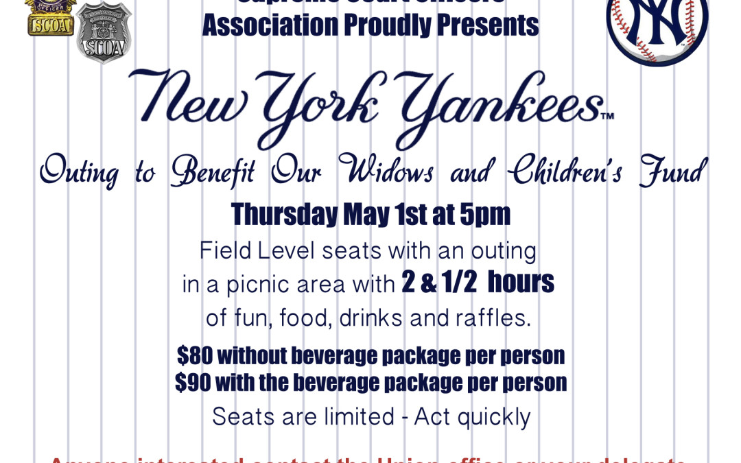 New York Yankees Outing to Benefit Widows and Children's Fund