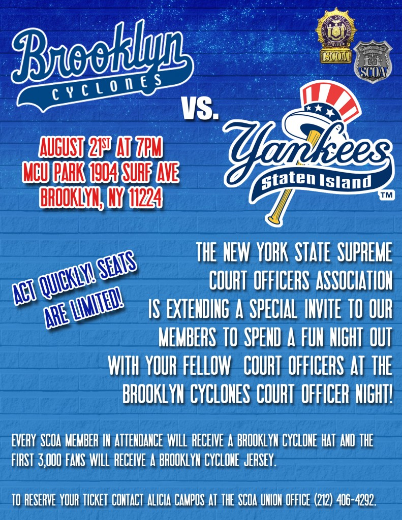 Brooklyn Cyclones Court Officer Night