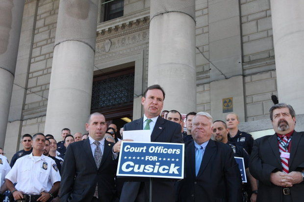 Assemblyman Michael Cusick (D-Mid-Island) at endorsement event with courts unions outside state Supreme Court in St. George. (Staten Island Advance/Jan Somma-Hammell)