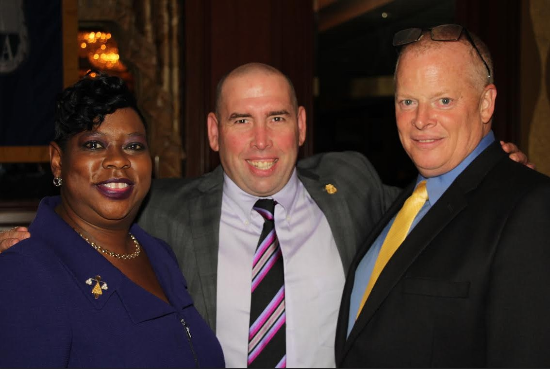 Hon. Darcel D. Clark (left), district attorney-elect in the Bronx, and Maj. Terrence Flanagan (right) were honored as Woman and Man of the Year, respectively, by the New York State Supreme Court Officer's Association. Pictured with SCOA president Patrick