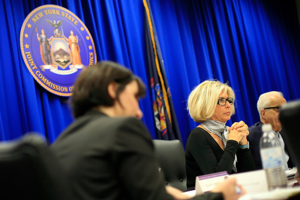 Gov. Andrew M. Cuomo on Tuesday nominated Janet DiFiore, center, to lead the Court of Appeals, the state's top judicial post. – -Credit Nathaniel Brooks for The New York Times